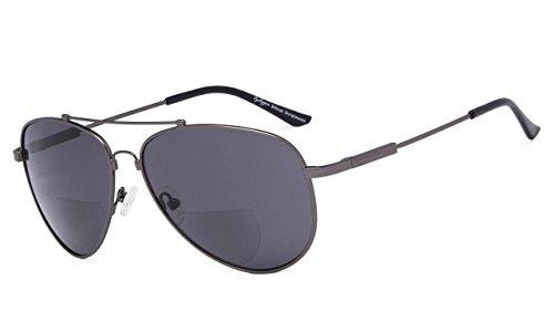 Eyekepper Bifokal Sonnenbrille-Polit Stil Sunglass mit Gedächtnis-Brücke und Arm lesen(Rotgussrahmen Graue Linse, 2.00)
