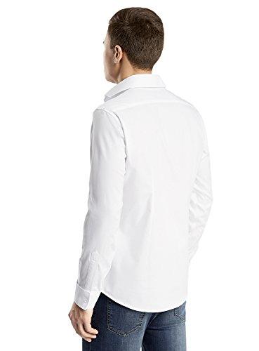 oodji Ultra Uomo Camicia Attillata con Polsini per Gemelli Bianco (1000N)