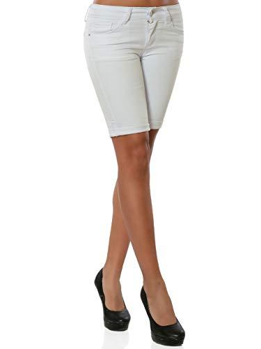 Damen Capri Jeans Kurze Sommer Hose Push-Up DA 15975 Farbe Weiß Größe XL / 42 - Capri-jeans Weiße