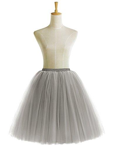 Bridesmay Damenrock Vintage Tuturock Tüllrock Petticoat Unterkleid Retro Partykleid Grey