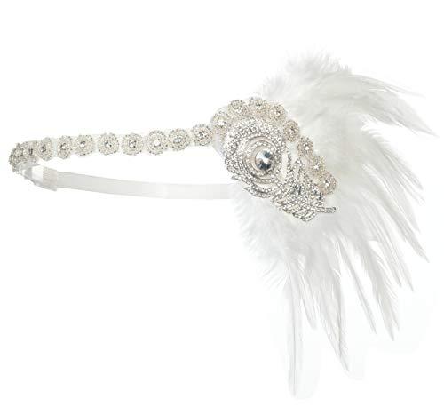 Zivyes Damen Feder Stirnband 1920s Stil Flapper Art Deco Inspiriert von Great Gatsby Blatt Blinkende Kristalle Haarband (2-White)