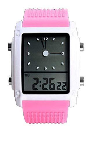 LANTA Home Mädchen Nette rosa geführte Digital-Sportuhr Dual Time Zone analoge Silikon-Armbanduhr schöne Damenuhr