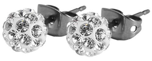 Akzent Damen-Ohrstecker Glitzer Swarowski Titan Durchmesser 6 mm