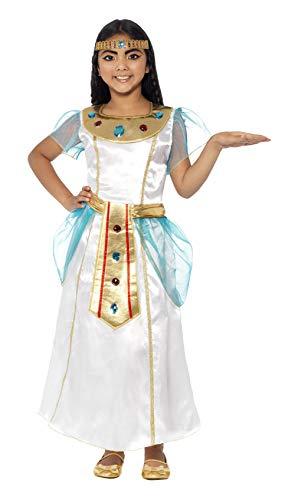 Smiffys Kinder Deluxe Kleopatra Kostüm für Mädchen, Kleid und Kopfschmuck, Größe: M, ()
