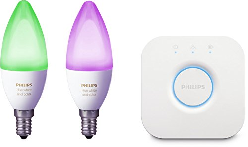 Philips Hue White and Color Ambiance - Pack de 2 bombillas LED E14, 6.5 W, Puente hue incluido, iluminación inteligente, bombillas, cambian de color, compatible con Apple Home Kit y Google Home