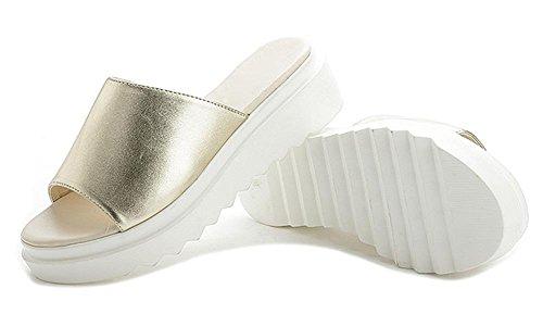 Sommer Sandalen dicke Kruste Muffin einfache und bequeme Sandalen und Pantoffeln Freizeitschuhe Student Gold