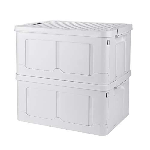 Adkwse 2er-Set Aufbewahrungsbox Mit Deckel, Faltbarer Aufbewahrungsboxen Mit Beweglich Klickverschluss, Stapelbare Kisten Faltbox Storage Boxes Für Aufbewahrung und Transport, Kunststoff, Weiß, 40L