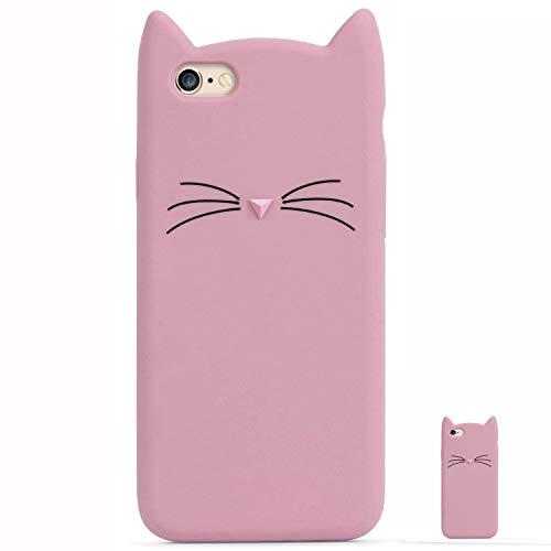 Hopmore cover iphone 6s / 6 (4.7 inch) silicone disegni 3d divertenti fantasia gomma morbido custodia iphone 6 6s antiurto protettiva slim tpu case bumper molle caso - carino gatto rosa