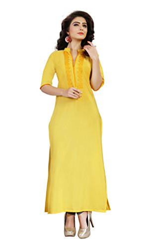 ZIYAA Women's Straight Crepe Kurta (AE DIL YELLOW-S-Yellow-S)