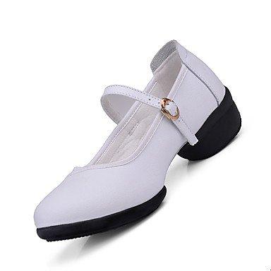Scarpe da ballo-Non personalizzabile-Da donna-Danza moderna-Quadrato-Di pelle-Nero Rosso Bianco Red