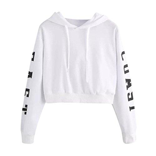 Moonuy Frauen Long Sleeve Hoodies Damen Crop Pullover Buchstaben Hoodie Frühling Herbst Sweatshirt Tops Bluse (XS, Weiß) (Sperrys Für Frauen Schwarz Und Weiß)