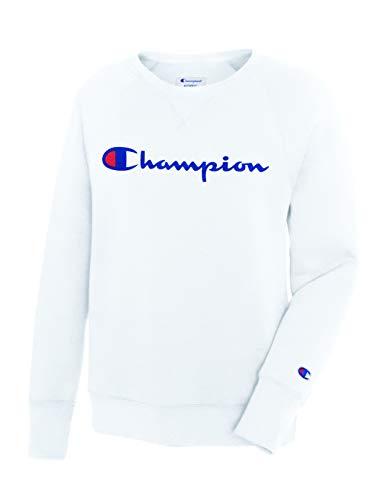 Champion Crew Sweatshirt (Champion Damen Fleece Boyfriend Crew Sweatshirt, weiß, XX-Large)