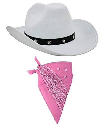 Kostüm Django - I LOVE FANCY DRESS Cowboy Kostüm-Accessoires, Cowboyhut mit Sternnieten-Streifen und farbiges Bandana mit Paisley-Muster, Wilder Westen, Sheriff