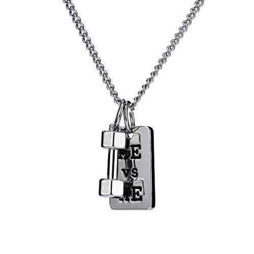 Herrenhalskette,Unisex Originelle Persönlichkeit Hip Hop Hantel Design Anhänger Mit Halskette Hiphop Fashion Wild Zubehör Silber Silber Me