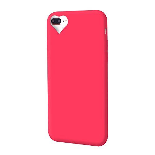 iProtect TPU Schutzhülle Apple iPhone 7 Plus, iPhone 8 Plus Soft Case in matt Rosa love rot