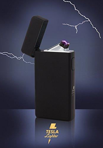 Tesla-Lighter T13 | Lichtbogen Feuerzeug, Plasma Double-Arc, elektronisch wiederaufladbar, aufladbar mit Strom per USB, ohne Gas und Benzin, mit Ladekabel, in edler Geschenkverpackung, matt Schwarz