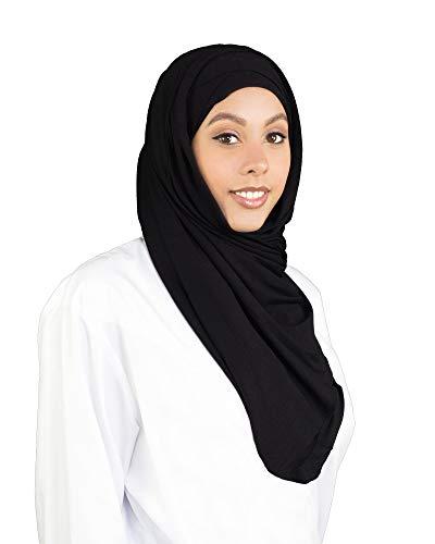 SAFIYA - Hijab Kopftuch zum schnellen überziehen für Frauen I Fertig gebunden Kopfbedeckung Halstuch Haartuch I Damen Gesichtsschleier, Schal, Turban I Baumwolle - Schwarz