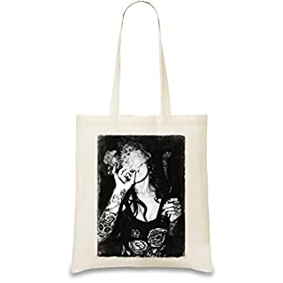 SOULSTAR Tattoo Babe Smoking Custom Printed Tote Bag| 100% Soft Cotton| Natural Color & Eco-Friendly| Unique, Re-Usable & Stylish Handbag For Every Day Use| Custom Shoulder Bags By Josh God Apparel