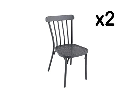 PEGANE Lot de 2 chaises empilables en alu Coloris Gris Anthracite -Dim : 40 x H 87 x P 54 cm