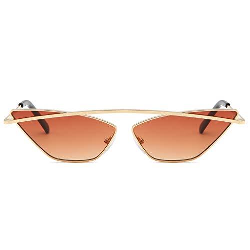 Lazzboy Damenmode Cat Eye Shade Sonnenbrille Integrierte Streifen Vintage Brille Damen Triangle Brillen Katzenauge Retro Jahrgang Sonnenbrillen(Braun)