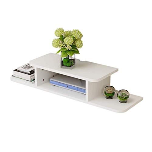 DEWUFAFA WiFi Router Regal, Wand Befestigt Media Console, Schwimmender TV-Ständer Component Regal, Entertainment Center Einheit Funktionsspeicherregal 80x20cm (Color : White) -