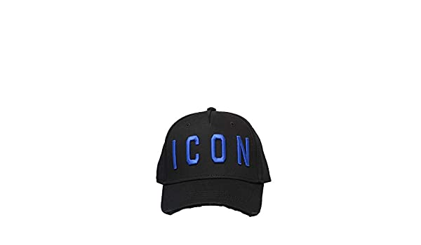 e8a0148c9f075 DSquared BCM4001 ICON Baseball Cap in Black and Blue  Amazon.co.uk  Clothing