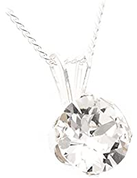 pewterhooter 925 Sterling Silver pendant and chain made with Diamond White crystal from SWAROVSKI® for Women