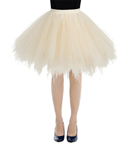 bbonlinedress Kurz Retro Petticoat Rock Ballett Blase 50er Tutu Unterrock Champagne S