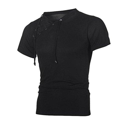 Herren T-Shirt Herren Mode Sommer T-Shirts Mode Männer Slim Fit Hemden Kurzarmhemd mit Knopf Einfarbig Sommer-Oberteile Freizeit Hemd Modern Rundhals Luckycat (Schwarz, Medium)