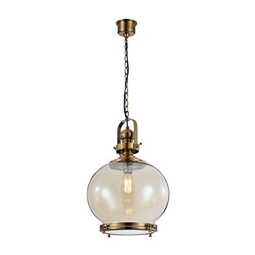 Mantra - Lámpara colgante 1 luz colección Vintage, pantalla cristal 31cm. Color cuero y cristal fumé.