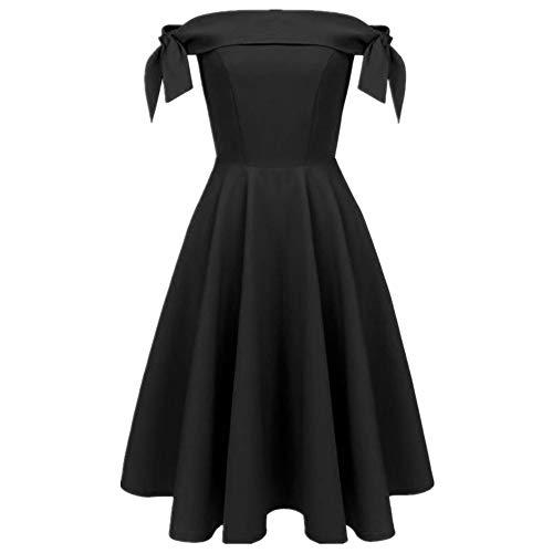 Bahoto Retro-Stil Bogen Schulter Kragen Kleiner Schwarzer Rock Kleines Rotes Kleid Große Ornamente Petti Kleid -