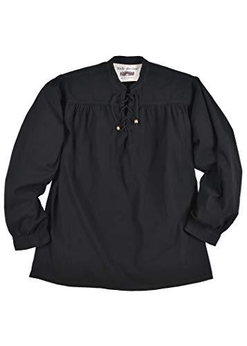 Battle-Merchant Mittelalter-Hemd Ludwig, schwarz LARP-Kleidung Größe L