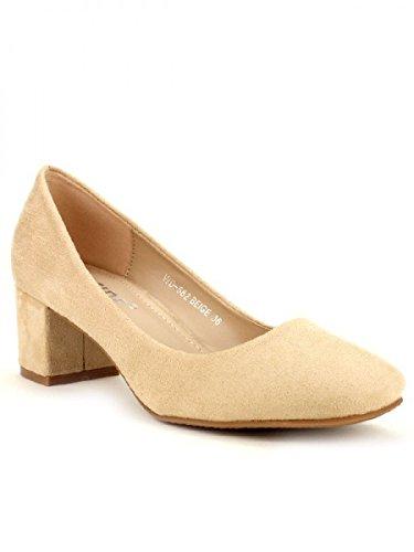Cendriyon, Ballerine à talon WEIDES Chaussures Femme Beige