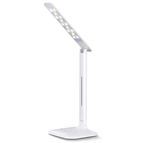Zuoao Schreibtischlampe LED Tischlampe Buchlampen USB-Anschluss Nachttischlampen Dimmbar für Kindle (Weiß 02)