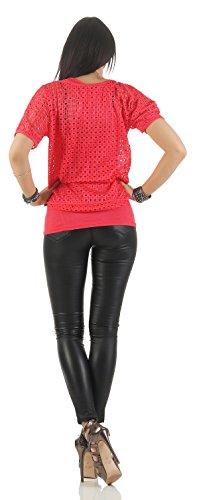 Mr. Shine –Damen Kurzarm Lose Bluse Oversize mit Trägertop Fashion s-xxl Corral