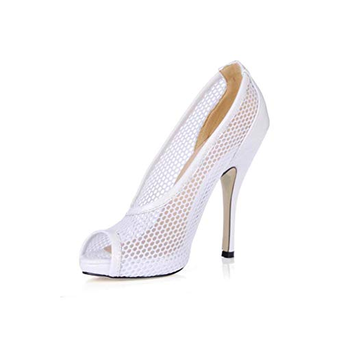 GHFJDO Damen Satin, Spitzen Pumps, Prom Hochzeit Braut Damen Peep Toe Pfennigabsatz Low Heel Party Pumps,White,38EU -