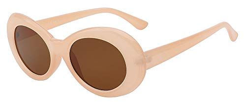 Zbertx New Vintage Sonnenbrille Männer Und Frauen Retro Oval Sonnenbrille Mode Brillen Uv400,Nude W Brown Lens