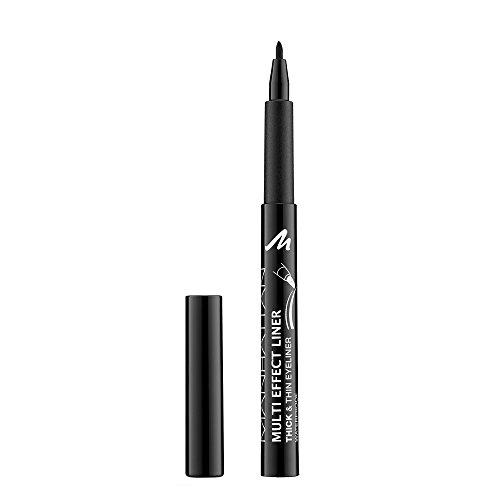 Manhattan Multi Effect Liner, Hochpigmentierter schwarzer Eyeliner für einen dicken und dünnen Lidstrich, Farbe black 001, 1 x 1 ml