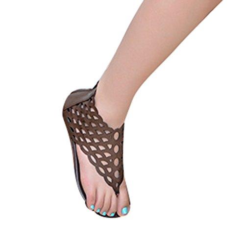 NiSeng Damen Ethnische Stil Sandalen Retro Fischschuppen Sandalen Mode Flache Sandalen DarkBraun