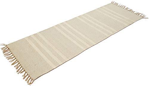 Natürliche Baumwolle & Jute grau Triple weiß Streifen Läufer Teppich 70cm x 200cm