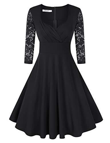KOJOOIN Damen 50er Vintage Kleid Retro/Cocktailkleid/Abendkleid/Ballkleid Rockabilly V-Ausschnitt Kleid Knielang Langarm Schwarz M