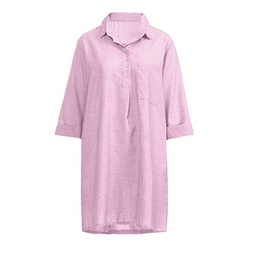 72a1bd819ef MERICAL Vestido de Cuello Abotonado sólido para Mujer Boho Manga 3/4 Casual  Botón de