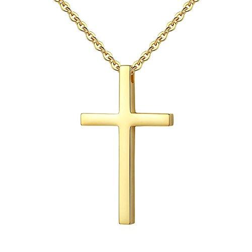 (HIJONES Damen Herren Edelstahl Einfache Kreuz Anhänger Halskette 22 Zoll Kette, Gold)