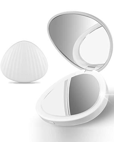 Ulinek Espejo Maquillaje con Luz, Espejo Redondo con Aumento 1X/5X Espejo de Bolsillo Compacto Plegable...