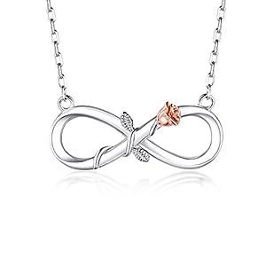 BlingGem Damen Kette Infinity aus Weißgold vergoldet 925 Sterling Silber Rose Unendlichkeit Halsketten Frauen Blume Anhänger Silberkette Einstellbar Geschenk zum Muttertag,48 cm