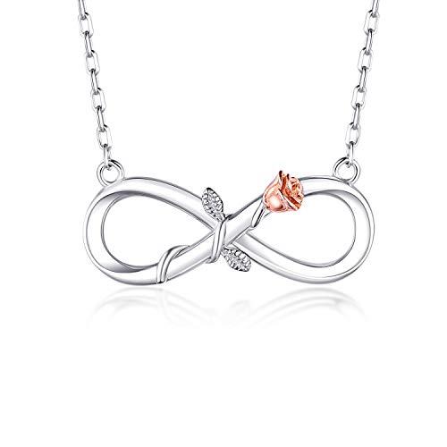 BlingGem Damen Kette aus Weißgold vergoldet 925 Sterling Silber Rose Unendlichkeit Halsketten Frauen Blume Anhänger Silberkette Einstellbar,45+3 cm