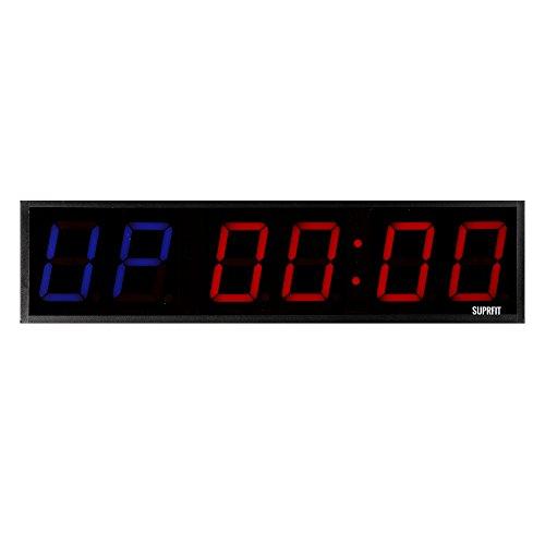 Suprfit Tilrun 6 Intervall Timer I Sporttimer I Fitness Timer I LED Display I sechs Ziffernfelder I 5 Zeit-Modi I 12 Speicherplätze I inkl. Fernbedienung I Signalton I zur Wandmontage geeignet