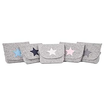 Kleine Tasche, Taschenorganizer, Filztasche grau, Stern in verschiedenen Farben, Geschenketasche
