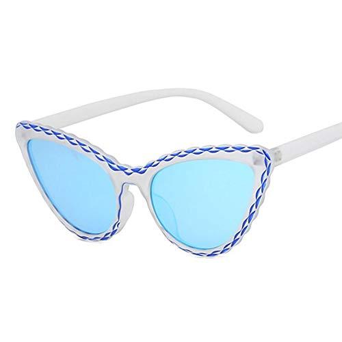 TIANKON Mode Cat Eye Sonnenbrille Frauen Candy Farbe Sonnenbrille Matte Frame Petal Rim Brillen,Blauer Spiegeld