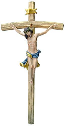 Kaltner Präsente Geschenkidee - 25 cm Wandkreuz Kruzifix mit Jesus Christus Figur auf Kreuz aus Holz von Hand bemalt
